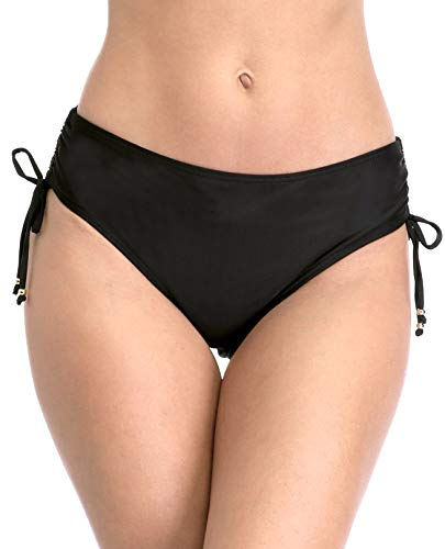 - belamo Women high Waisted Swim Shorts Solid Black Strappy Bikini Bottom Swim Briefs