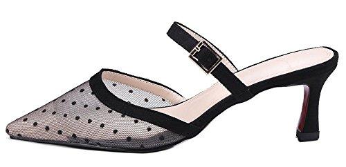 Mesh Noir Talon Femme Moyen Pointue Mules Easemax Chaussure Fashion 87AawX7qE
