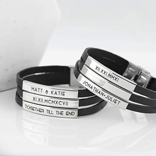 Personalized Leather Band Bracelet Custom Personalized Fathers Day Gifts Boyfriend Gift Engraved Bracelet Gift for Him Dad Gift Mens Personalized Bracelet - 3LBR (Best Friend Engraved Bracelets)