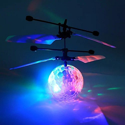 Flying Ball Toys, RC Toy for Kids Boys Girls Gifts Rechargeable Light Up Drone Ball, Infrared Induction Hand Suspension Helicopter with Remote Controller for Indoor and Outdoor Games (Crystal Ball) by CPSYUB (Image #2)