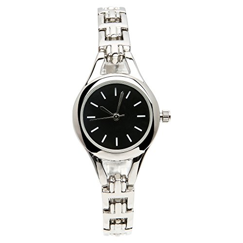 Classic Womens Stainless Steel Band Watch With Black Round Face