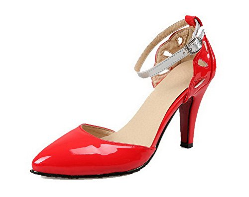AllhqFashion Damen Lackleder Spitz Zehe Hoher Absatz Schnalle Gemischte Farbe Pumps Schuhe Rot