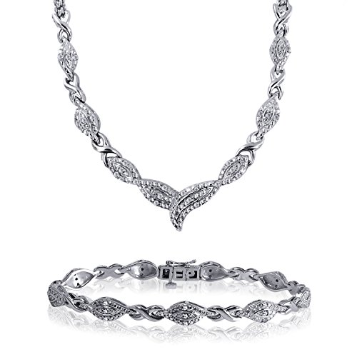 1/2 Cttw Diamond Bracelet and Necklace 2 Piece Jewelry Set