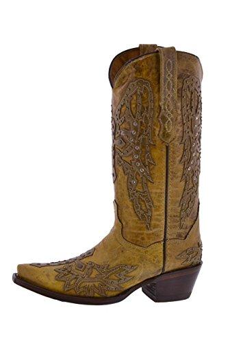 Pistole Doro - Sandali Da Donna Con Ali E Stivali Da Cowboy In Pelle Con Borchie Incrociate
