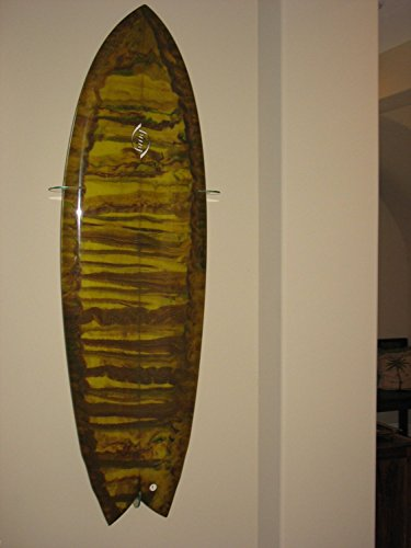 Surfboard Wall Racks - Vertical Wall Display, Clear Acrylic, for Swallow/Fish tail boards ()
