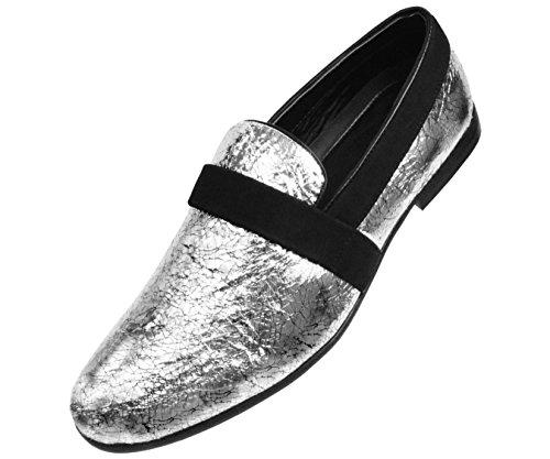 Amali Mens Miroir Argent Crépitement Feuille Métallisé Fumée Pantoufle Style Slip Sur Robe Chaussure: Style Tino-211