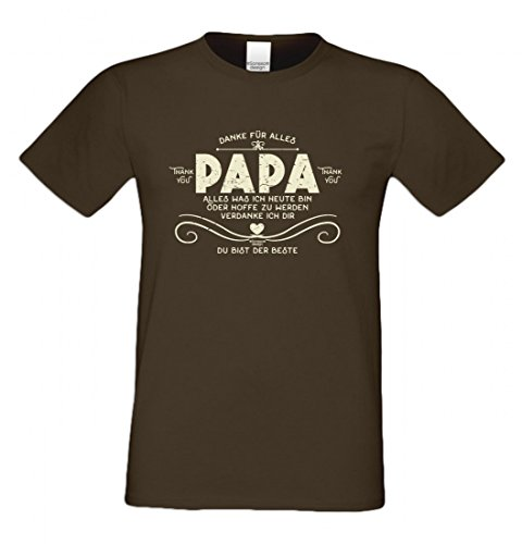 T-Shirt als Geschenk für den Vater - Du bist der Beste - Funshirt für den Papa mit Humor zum Vatertag oder einfach so, Größe S Farbe 09-Braun