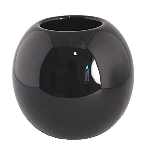 KissH Simple Continental Abstract Ball Ceramic Vase Height 8.5cm (Black Ceramic Vase)