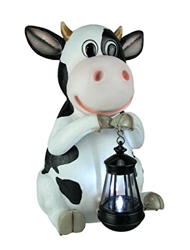 World Of Wonders Resin Outdoor Statues Betty Sue Farm Cow Holding Led Solar Light Garden Decor 8.5 X 14 X 9.5 Inches ()