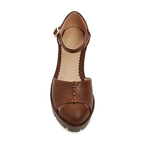 SLC04025 Brown Solid Pleated Urethane AdeeSu Sandals Womens Hiking YC77Of