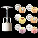 Mooncake Mold With 6 Stamps,Flowers Design Cookie