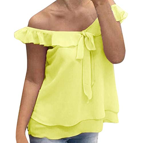 Cenglings Women Sexy Off Shoulder Solid Loose Chiffon Ruffle Blouse Office Double Layer Bow Tie Tank Top Pullover -