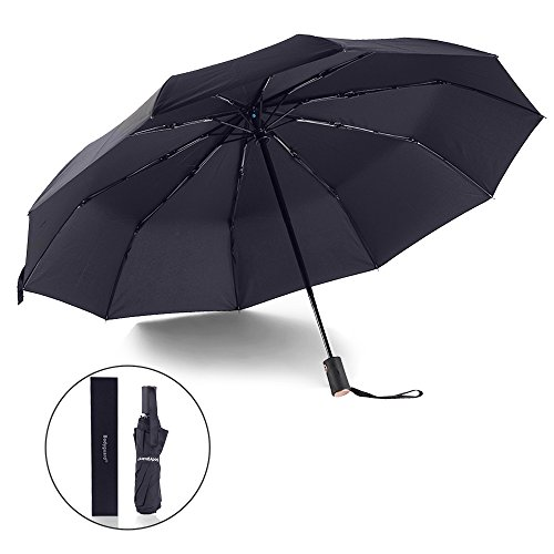 Bodyguard-Innovation-10-Fibreglass-Ribs-TravelGolf-Umbrella-Dupont-Teflon-210T-Finest-Waterproof-Fabric-Auto-Open-and-Close-Ultra-Comfort-Handle-Durable-and-STYLISH-Gift-Box-Black