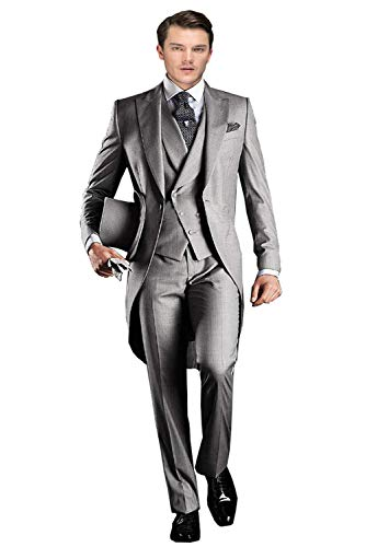 Wemaliyzd Men's Classic 3 Pieces Tux Suit One Button Regular Fit Long Tail Tuxedos(Silver,54R) -