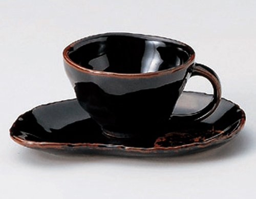 TENMOKU-KONOHA 3.7inches Set of 2 Cups & SaucersJiki Japanese Original Porcelain