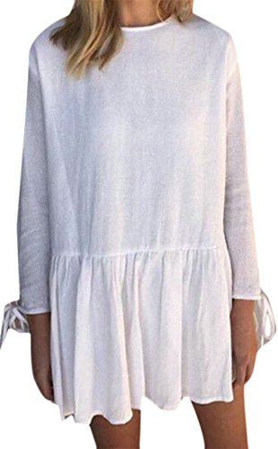 Soft Cromoncent Dress Long Crew Pleated Linen Sleeve White Solid Color Neck Womens rqfzwr