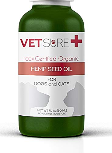 VetSure+ Hemp Oil for Dogs & Cats (100% Safe) All Natural Supplement with Omega 3 Fatty Acids | Reliefs Itch, Dry Skin, Allergy, Hip & Joints Arthritis & Hot Spot