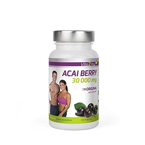 Acai Berry 30000mg mit höchstem 40:1 Extrakt - 120 Kapseln - Acai beere - Extrem hochdosiert - Hohe Wirkungskraft