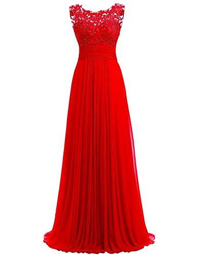PROMLINK Women's Beaded Chiffon Long Dresses for Gown Wedding Guest Red