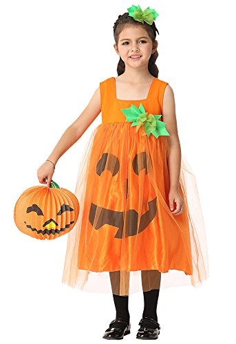 Honeystore Girl's Pumpkin Costume Halloween Cosplay Fancy Outfit Dress (Pumpkin Halloween Costume Homemade)