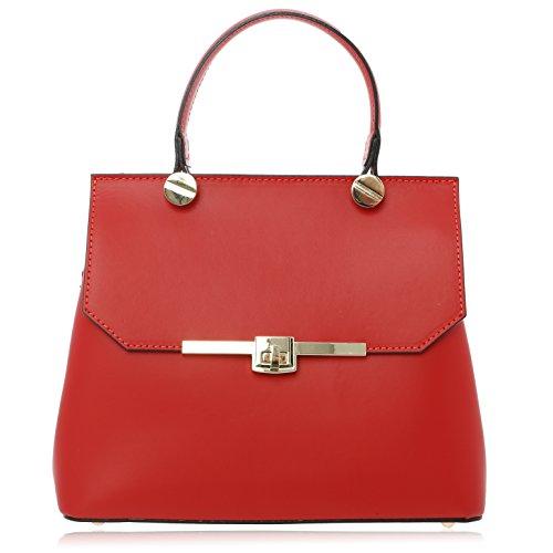 Borsa Donna Rosso Made 23 cm da 12 27 Florence Pelle Vera Mano a in grqtRgfw