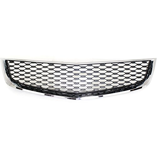 Grille for Chevrolet Equinox 10-15 Lower Chrome Shell Painted-Black Insert