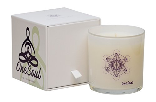 Lavender Bergamot Candle by OneSoul | Spiritual Natural Soy Wax Hand Poured Highly Scented Aromatherapy Luxury Candle | 9oz 80 hour Made in the USA | Zen Relaxation for Meditation Metatron's Cube (Oil Unity Candle Glass)