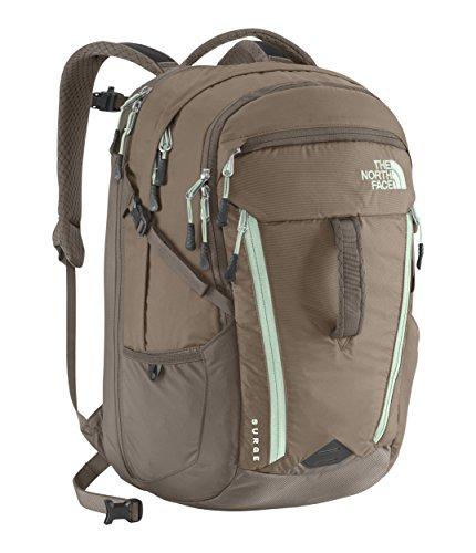 The North Face Surge Backpack - Women's Asphalt Grey Dark Heather/Subtle Green
