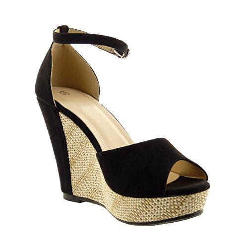 Sopily - Scarpe da Moda sandali alla caviglia donna fibbia corda Tacco zeppa 9 CM - Nero