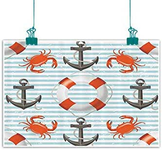 Teal Striped Nautical Decor Modern Frameless Painting Life Rings Anchor and Ropes Crabs Coastal Bedroom Bedside Painting 24