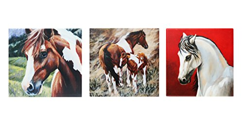 - ACK 3Pcs Ceramic Art Tile Set, Horses and Cows Collection, 6