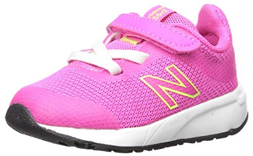 New Balance Girls' 455v2 Running Shoe, PEONY/BLEACHED LIME GLO, 9 M US Toddler (Best Shoes For Gym Classes)
