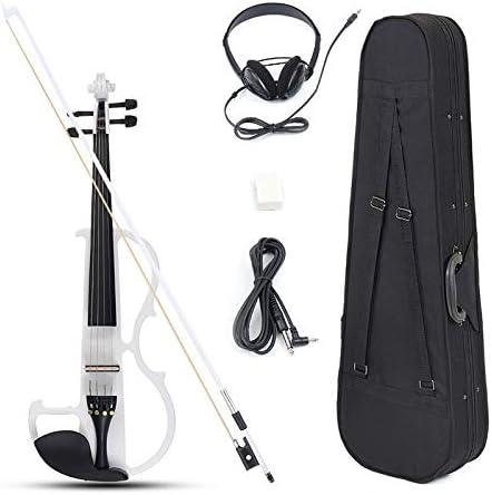 XUJJA 4/4 tamaño Basswood Electric Violin Alloy String Headphone con Estuche para violín Principiante (Color : White): Amazon.es: Hogar