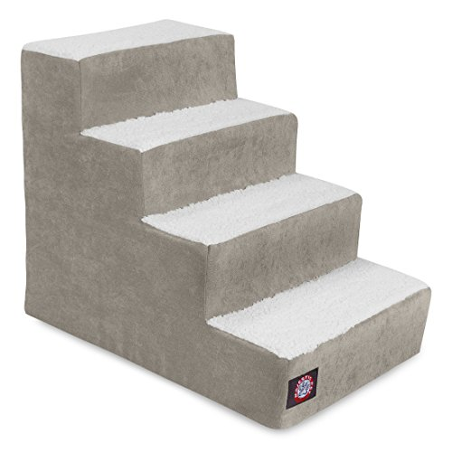 4 Step Portable Pet Stairs By Majestic Pet Products Villa Vintage Steps for Cats and Dogs Grey