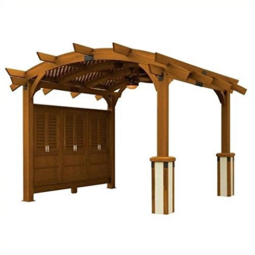 Sonoma Arched Wood Pergola 12x13 Redwood by The Outdoor GreatRoom Company