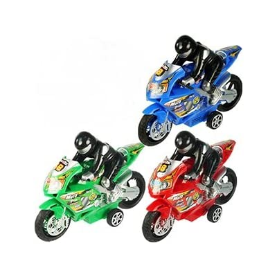 Funeez Friction Powered High Speed Motorcycles with Rider Toy for Kids Set of 3 (Assorted Colors): Toys & Games