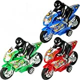 Friction Powered High Speed Motorcycles With Rider Toy For Kids ''Set Of 3'' (assorted colors)