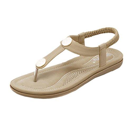 Women Bohemia Bling Rivet Rhinestone Clearance Rubber Sole Slipper Flip Flop Sandals Flastrap Thongs T-Strap Belt Heel Slide Girl Indoor Outdoor Beach Shoes (US:5.5, Khaki)