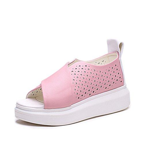Plate-forme De Femmes Sandales Fond Épais Été Mode Blanc Rose Forme Plate Sandale 2.pink