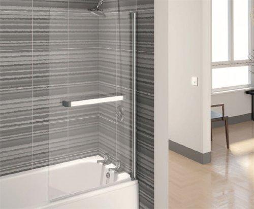 Aqualux - Paradoccia per vasca da bagno, 700 mm, colore: Argento ...