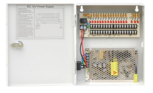 - HDView CCTV Distributed Power Supply Box for Security Camera, PTC Resetable Fuse [no fuse burn], Key Lock (18 Ports 20Amp, 12V DC Power) - UL Listed Certified