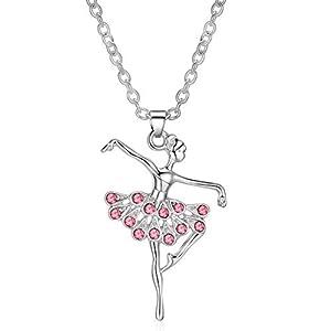 ELOI Little Girl Necklace Dancer Ballet Recital Gift Ballerina Dance Necklaces Teen Girls Jewelry 16 inches