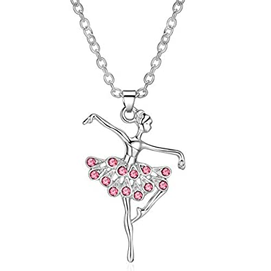 Amazon eloi little girl necklace light pink ballet recital eloi little girl necklace light pink ballet recital gifts ballerina dance necklaces girls jewelry 16 inch mozeypictures Image collections