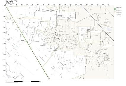 Amazon.com: ZIP Code Wall Map of Santa Fe, TX ZIP Code Map Laminated ...