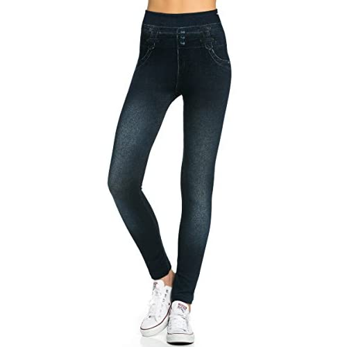 37fe3a74db454 My Yuccie Denim Printed Leggings Seamless Slim Jeggings Available in Plus  Size durable modeling