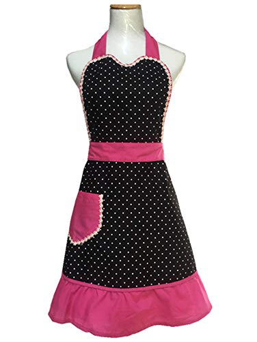 Hyzrz Lovely Sweetheart Retro Kitchen Cotton Cooking Salon Pinafore Vintage Aprons for Girls Women Apron with Pockets, Black and Pink