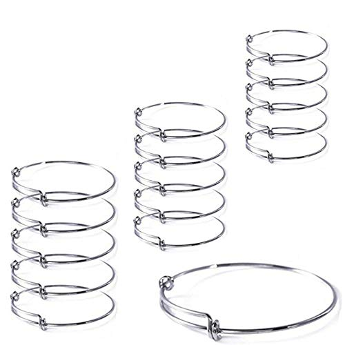 15 Pcs Stainless Steel Expandable Wire Blank Bangle Bracelet for Womens DIY Jewelry Making for $<!--$14.99-->