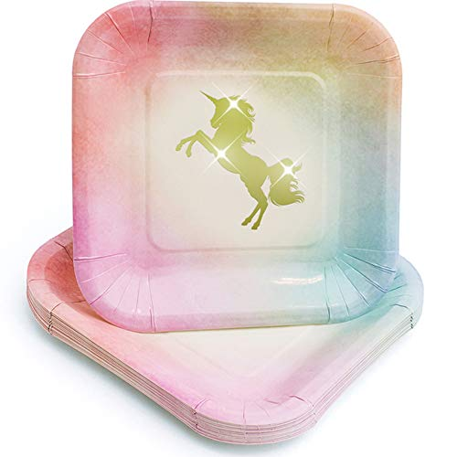 Praity Square Paper Unicorn Themed Plates Set: 16-Pack Waterproof Gold Foil Unicorn Party Supplies | Deluxe Party Plates from Thick Paper | Disposable Plates for Birthday, Kids Party & More (7 Inch)