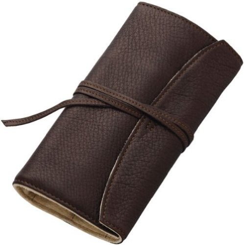 Pilot Pensemble Roll Pen Case 5 Pocket Cowhide Dark Brown by Pilot