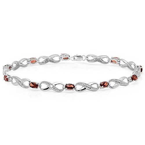 Sterling Silver Oval Garnet & Round White Diamond Ladies Infinity Link Tennis Bracelet